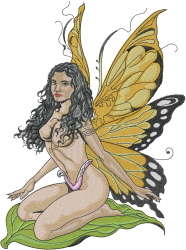 Woman Fairy embroidery design