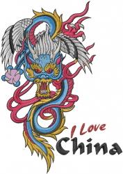 I Love China embroidery design