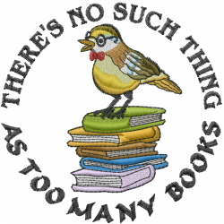 Too Many Books embroidery design