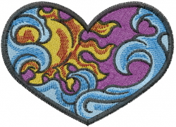 Heart Sun Waves embroidery design