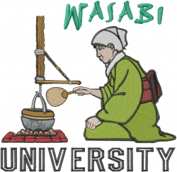 Wasabi University embroidery design