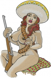 Mexican Nude Woman embroidery design