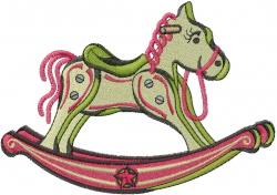 Retro Rocking Horse embroidery design