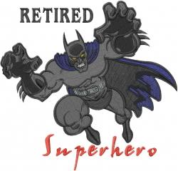 Retired Superhero embroidery design