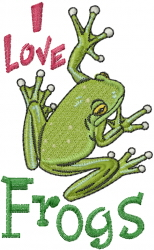 I Love Frogs embroidery design