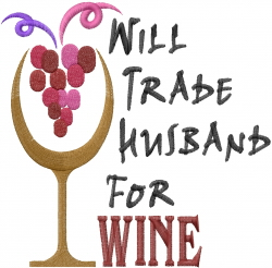 Husband For Wine embroidery design