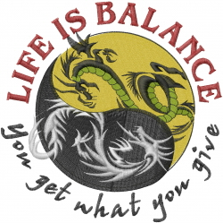Life is Balance embroidery design