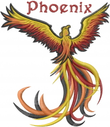 Phoenix embroidery design