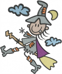 Stick Witch embroidery design