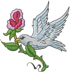 Bird With Rose embroidery design