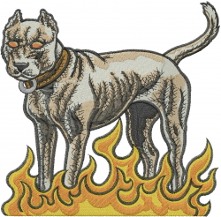 Pit Bull In Flames embroidery design