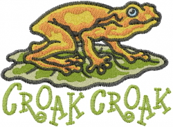 Croak embroidery design