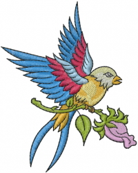 Sparrow On Rose embroidery design