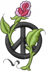 Rose In Peace Sign embroidery design