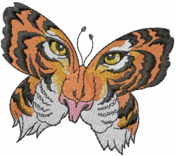 Tiger Face Butterfly embroidery design