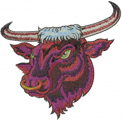 Angry Bull Head embroidery design