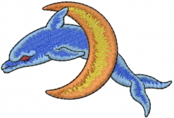 Dolphin Jumping Moon embroidery design