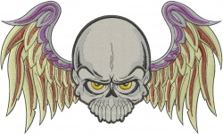 Winged Skull embroidery design