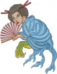 Geisha Dragon embroidery design