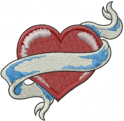Heart And Banner embroidery design
