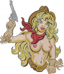 Nude Cowgirl embroidery design