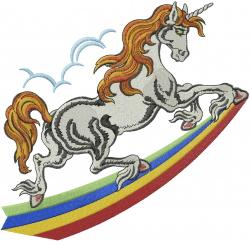 Unicorn On Rainbow embroidery design