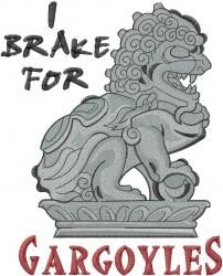 Brake For Gargoyles embroidery design