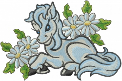 Horse With Daisies embroidery design