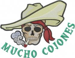 Mucho Cojones embroidery design