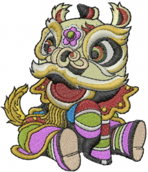 Chinese Lion embroidery design