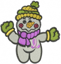 Pink Ribbon Snowman embroidery design