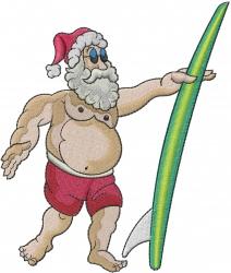 Santa Surfer embroidery design