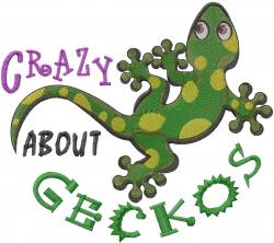 Crazy About Geckos embroidery design