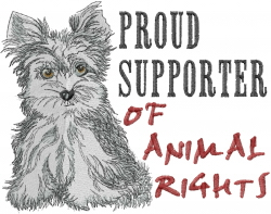 Animal Rights embroidery design