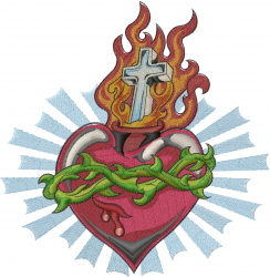 Religious Heart embroidery design
