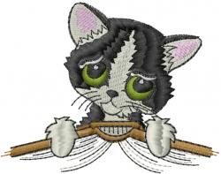 Sad Kitten embroidery design