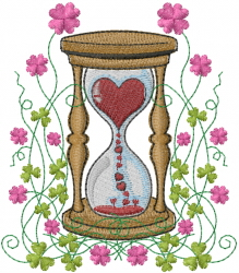 Valentine Hour Glass embroidery design