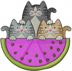 Watermelon Cats embroidery design