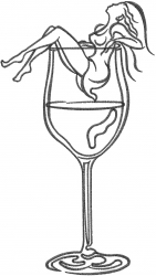 Wine Glass Woman embroidery design