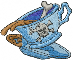 Poison Coffee Cup embroidery design