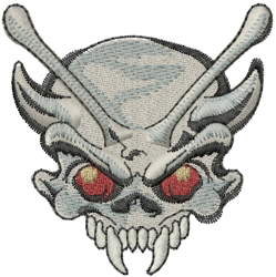 Fanged Skull embroidery design