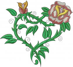 Heart Rose embroidery design
