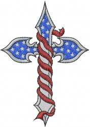Patriotic Cross embroidery design