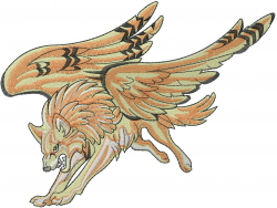 Winged Wolf embroidery design