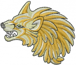 Growling Wolf embroidery design