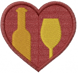 Wine Glass Heart embroidery design