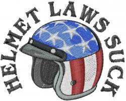 Helmet Laws Suck embroidery design