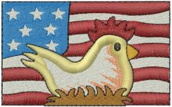 Patriotic Chicken embroidery design