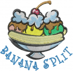 Banana Split embroidery design
