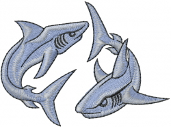 Two Sharks embroidery design